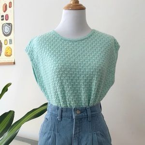 3/$25 Vintage Sleeveless Seafoam Retro Sweater